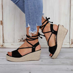 Women's PU Wedge Heel Sandals Wedges Peep Toe Heels With Lace-up shoes