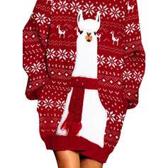 Hayvan baskı Rolák Neformální Dlouhé Vánoční Svetrové šaty