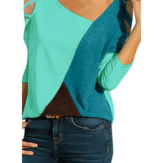 Color Block V-Neck 3/4 Sleeves Casual Blouses