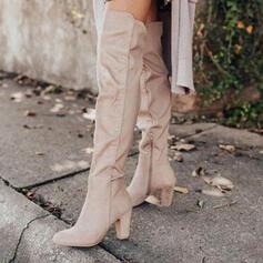 Donna Camoscio Tacco spesso Stivali sopra il ginocchio Punta rotonda con Increspato Colore solido scarpe