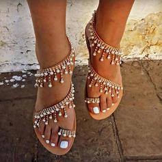 De mujer Cuero Tacón plano Sandalias Planos Encaje Solo correa con Perlas de imitación Cadena zapatos
