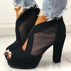 Women's PU Chunky Heel Pumps Peep Toe Heels With Zipper shoes