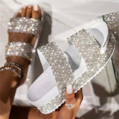 Femmes PU Talon plat Sandales Plateforme Compensée À bout ouvert Chaussons avec Strass Ouvertes chaussures