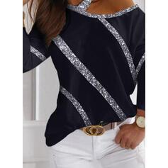 Paillettes Una spalla Maniche lunghe Casuale Camicie