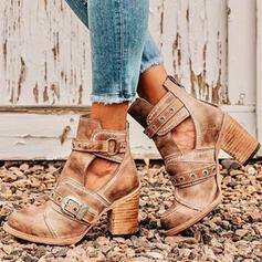 De mujer PU Tacón ancho Salón Cerrados Botas Martin botas con Rivet Hebilla zapatos
