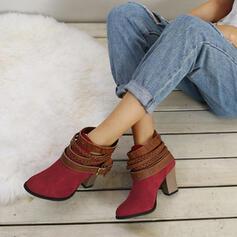 De mujer Ante Tacón ancho Botas al tobillo con Cordones zapatos