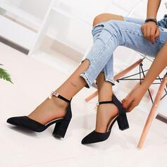 De mujer PU Tacón ancho Salón con Perlas de imitación Cremallera zapatos