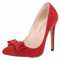 Mulheres Camurça Salto agulha Bombas Fechados com Bowknot sapatos
