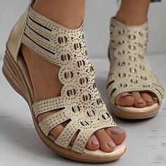 Kvinnor PU Kilklack Sandaler Kilar Peep Toe Klackar med Strass Zipper skor