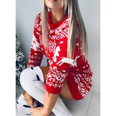 baskı Karácsony Kulatý krk Neformální Dlouhé Vánoční Svetrové šaty