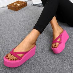 Kvinnor PU Kilklack Sandaler Plattform Kilar Peep Toe Flip Flops Tofflor Klackar med Andra skor
