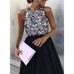 Sequins Sleeveless A-line Party Midi Dresses