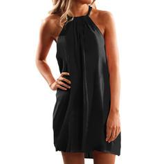 Sólido Sin mangas Tendencia Sobre la Rodilla Pequeños Negros/Casual Vestidos