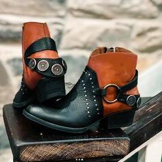 Bayanlar PU Tıknaz Topuk bot ayakkabı Ile Toka Fermuar ayakkabı