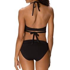 Jednolity kolor Wysoki stan Szybkie suszenie Dekolt w kształcie litery V Seksowny Wintage Bikini Stroje kąpielowe