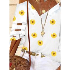 Εκτύπωση Sunflower Kivágott vállú Harang ujj 3/4-es ujjú Hétköznapokra πουκαμίσες