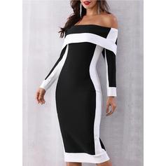 Color Block Long Sleeves Sheath Party/Elegant Midi Dresses
