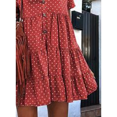 PolkaDot Short Sleeves Shift Above Knee Casual Tunic Dresses
