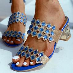 De mujer PU Tacón ancho Pantuflas con Rhinestone zapatos