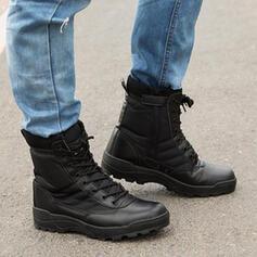 Dámské PU Placatý podpatek Boty Kotníkové Boty S Šněrovací Solid Color obuv