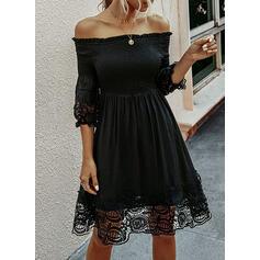Koronka/Jednolita Rękawy 3/4 W kształcie litery A Casual/Wakacyjna Midi Sukienki