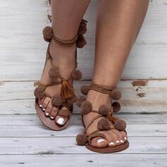 De mujer PU Tacón plano Sandalias con Piel zapatos
