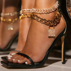 Women's PU Stiletto Heel Sandals Pumps Peep Toe Square Toe With Chain Hollow-out shoes