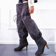 Women's Cloth Chunky Heel Knee High Boots Pointed Toe With Bowknot Solid Color shoes