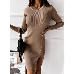 Solido Girocollo Lungo Stretto Abito maglione