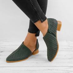 Frauen PU Stämmiger Absatz Stiefelette mit Reißverschluss Schuhe