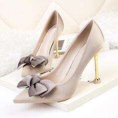 De mujer PU Tacón chupete Salón Tacones con Bowknot Color sólido zapatos