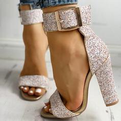 Kvinder Kunstlæder Stor Hæl sandaler Pumps Kigge Tå Hæle med Paillet Mousserende Glitter Spænde sko