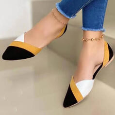 Women's Suede Flat Heel Flats With Splice Color shoes