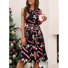 Εκτύπωση Αμάνικο Φαρδύ Κάτω Μήκος Γόνατος Χριστούγεννα/Καθημερινό/Κομψό Сукні
