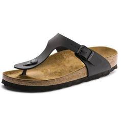De mujer PU Tacón plano Sandalias Solo correa Pantuflas zapatos
