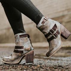 婦人向け PU チャンクヒール ブーツ とともに バックル ジッパー 靴