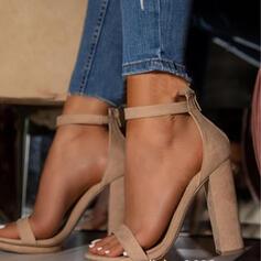 Kvinnor PU Tjockt Häl Pumps Peep Toe med Spänne Ihåliga ut skor