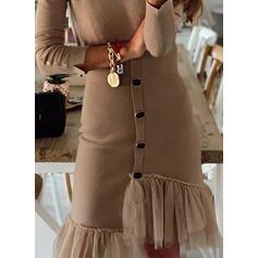 Pevný Dlouhé rukávy Pouzdrové Délka ke kolenům Neformální Šaty