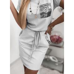 Tisk Krátké rukávy Přiléhavé Nad kolena Neformální Šaty