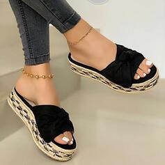 De mujer PU Tacón plano Sandalias Planos Plataforma Encaje Pantuflas con Bowknot Color de empalme zapatos