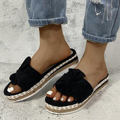 Kvinnor Duk Flat Heel Sandaler Peep Toe med Satäng Blomma Ihåliga ut skor