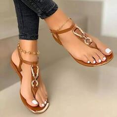 Vrouwen PU Flat Heel Sandalen Flats Peep Toe met Effen kleur schoenen