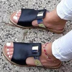 Dámské PU Placatý podpatek Sandály Pantofle S Vydlabaný Splice Color obuv