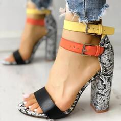 De mujer PU Tacón ancho Salón Encaje con Hebilla zapatos