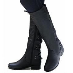 Kvinnor PU Låg Klack Tjockt Häl Stövlar Knäkickkängor med Spänne Zipper Bandage skor