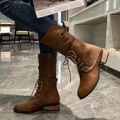 De mujer Cuero Tacón bajo Botas longitud media Encaje con Color sólido zapatos