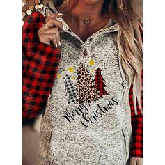 rács Leopard Postava Kapsy Dlouhé rukávy Vánoční mikina
