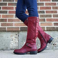 De mujer PU Tacón bajo Botas con Hebilla zapatos