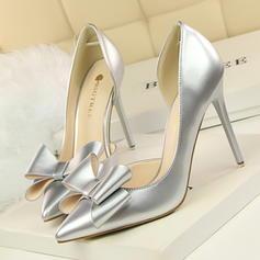 De mujer Piel brillante Tacón stilettos Salón Cerrados con Bowknot zapatos