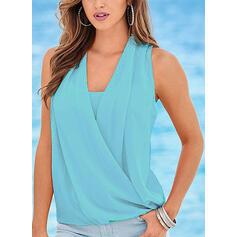 Sólido Decote em V Sem Mangas Casual Elegante Camisetas regata